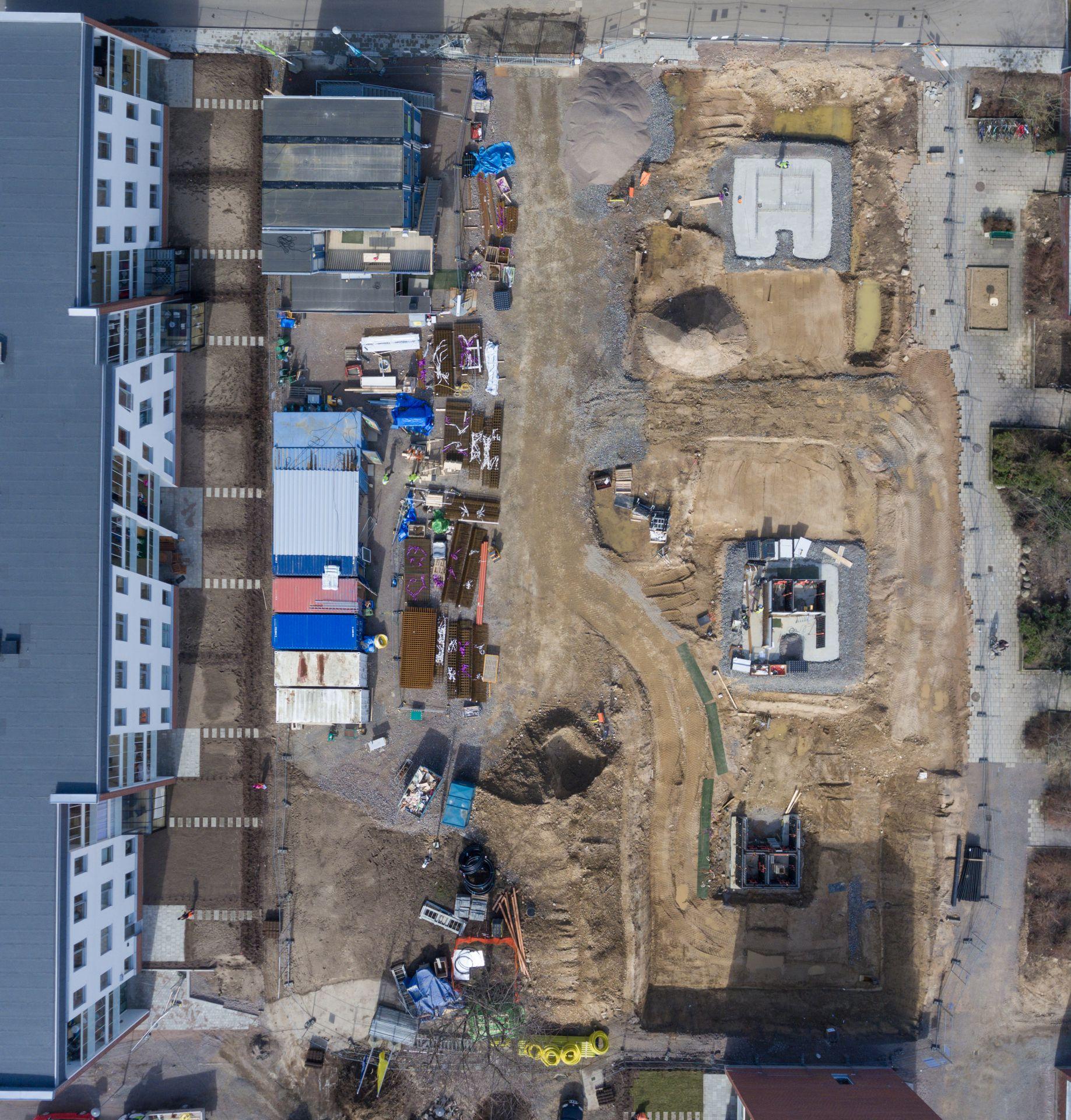 Markarbete som Bjäre Entreprenad gör för ombyggnad och nybyggnad av flerbostadshus i Grönkulla Helsingborg