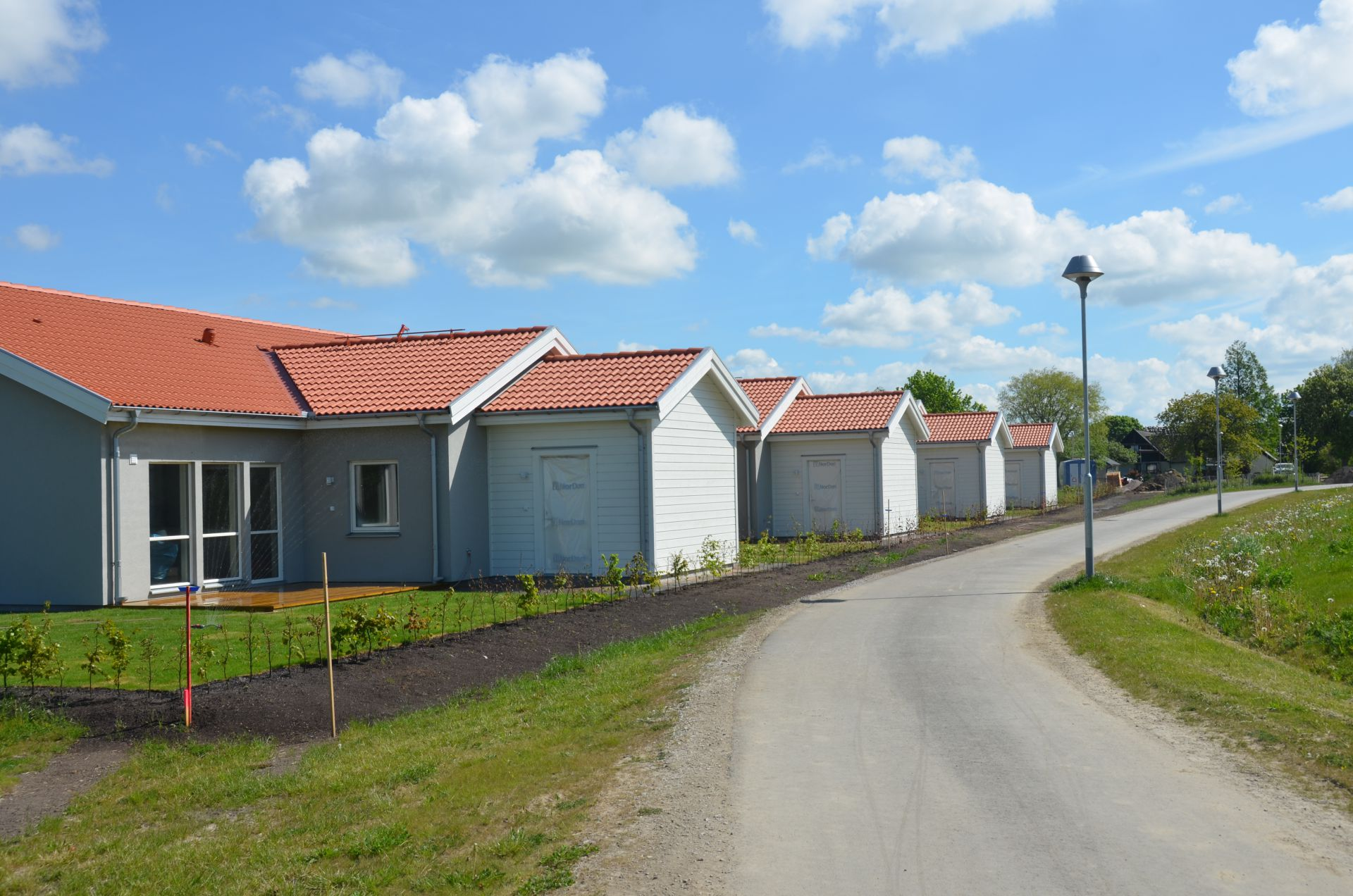 Arbetsplatsen för grundläggning och finplanering i Staffanstorp som Bjäre Entreprenad utför