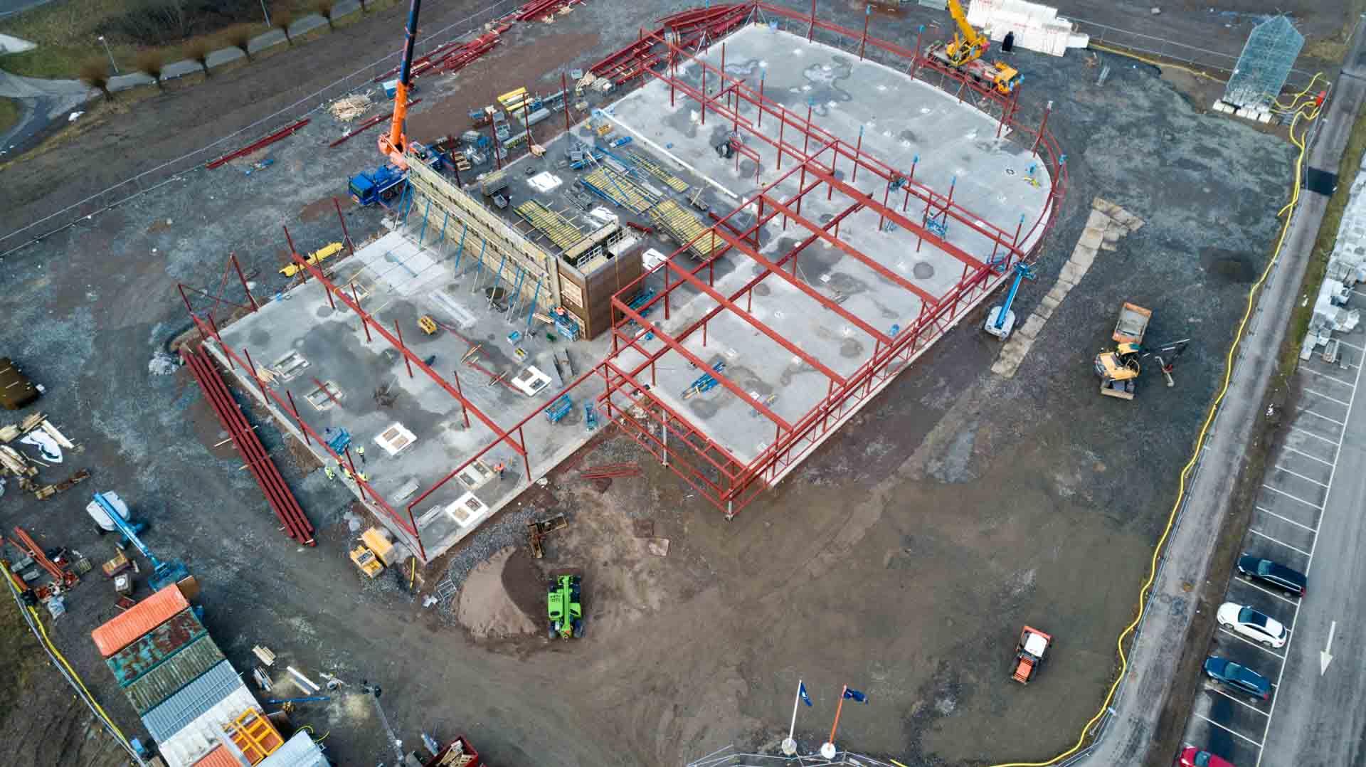Drönarbild utav hela byggplatsen för porschecenter i Helsingborg