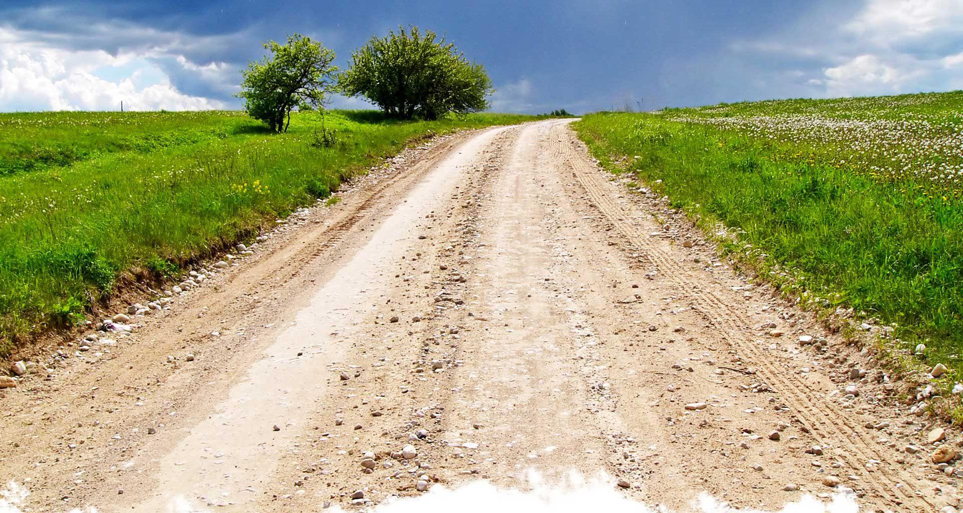 Grönt fält med en grusväg som går igenom den