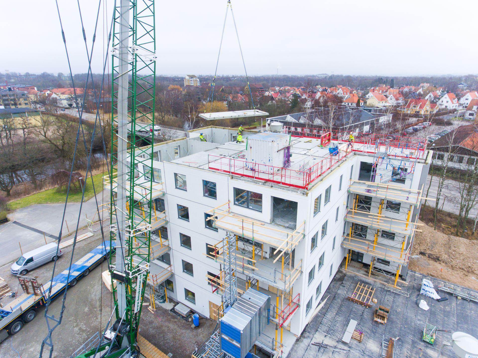 Byggprogression utav Thulins Trädgårdar i Ängelholm där Bjäre Entreprenad har gjort markarbetet