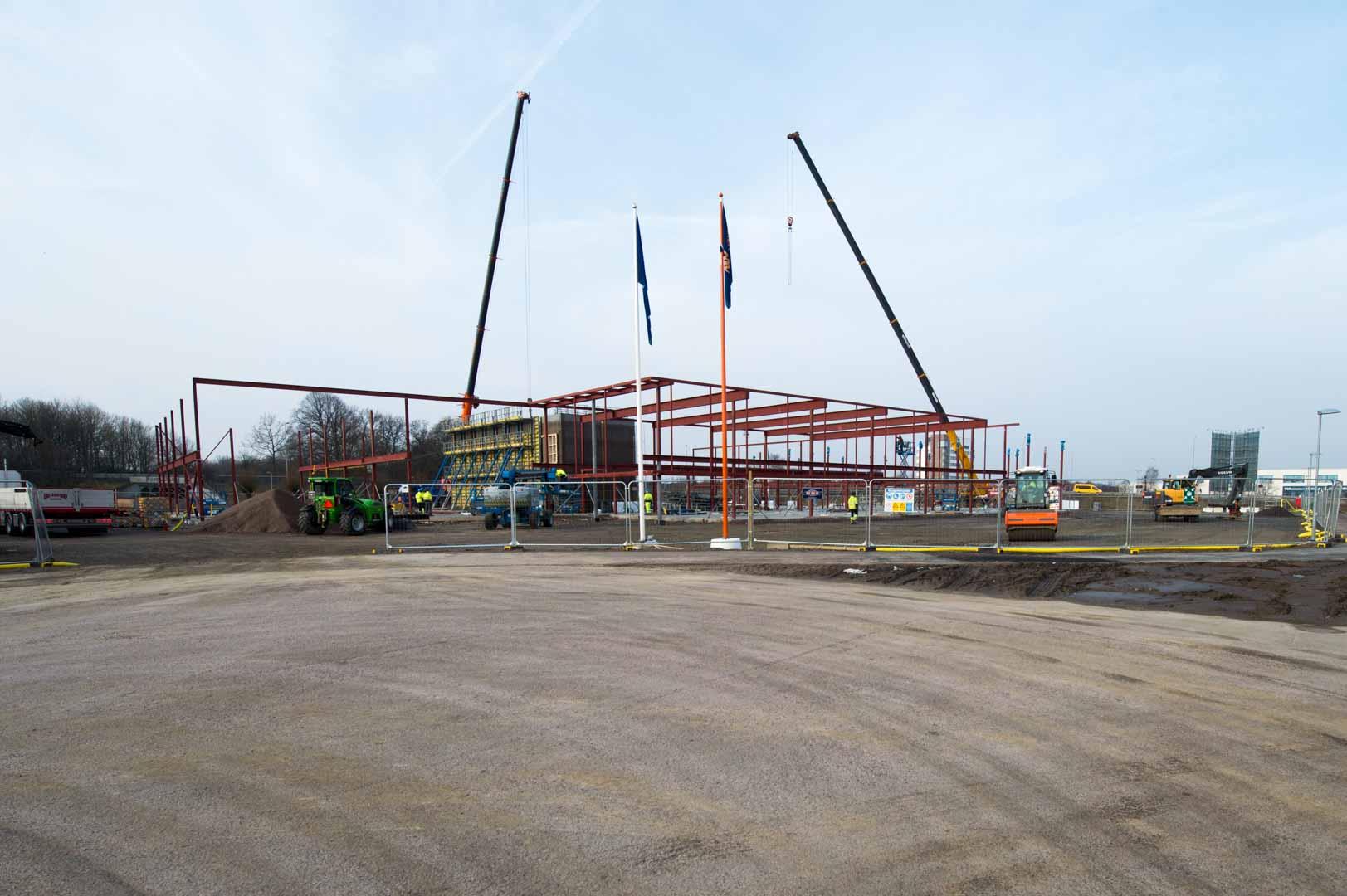 Byggplatsen för porschecenter i Helsingborg där Bjäre Entreprenad gör grundläggning och finplanering